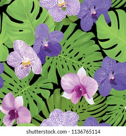 Seamless pattern of orchid flower and tropical leaves on black background. Vector set of exotic tropical garden for holiday invitations, greeting card and fashion design.
