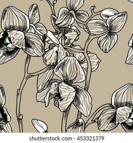 Seamless pattern with orchid flowers . Drawing by hand in the style of vintage