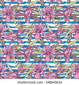 Seamless pattern with orchid flowers on the striped grunge blue and white nautical background.Background for summer holidays or vacation design.