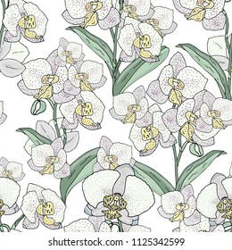 Seamless pattern with orchids flowers pastel shades on a white background. Handmade. Wallpaper, fabric or design of gift paper. Vector illustration