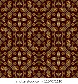 Seamless pattern oriental ornament in baroque style. Traditional classic vector golden pattern. Brown and golden pattern.