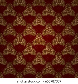 Seamless pattern oriental ornament in baroque style. Traditional classic vector golden pattern. Red and golden pattern.