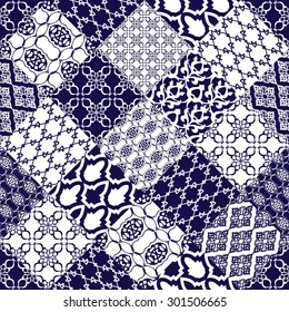 Seamless pattern with oriental ornaments. Navy blue and white motif. Luxury style ornaments. Vector illustration