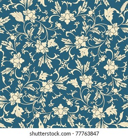 Seamless pattern oriental and white elements in blue background