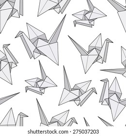 Seamless pattern with origami cranes. Paper crane.