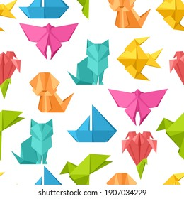 Seamless pattern with origami toys. Folded colored paper objects.