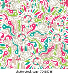 seamless pattern with ornament and fish