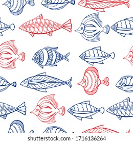 Seamless pattern of ornamental fish. Vector illustration.  Perfect for greetings, invitations, manufacture wrapping paper, textile, web design.