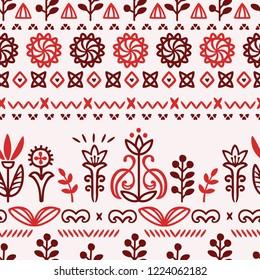 Seamless pattern ornamental of stylized flowers scandinavian slavic style