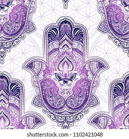 Seamless pattern from ornate amulet Hamsa Hand of Fatima. Ethnic amulet common in Indian, Arabic and Jewish cultures.