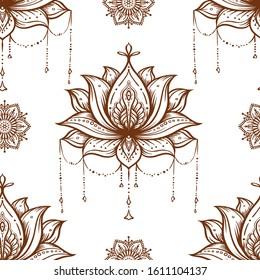 Seamless pattern with ornate Lotus flower. Ayurveda symbol of harmony and balance and universe. Tattoo design, yoga logo. Boho print, poster, t-shirt textile. Isolated outline vector illustration.