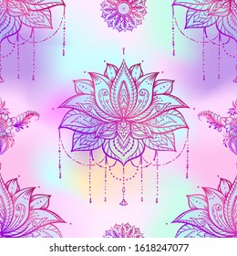 Seamless pattern with ornate Lotus flower. Ayurveda symbol of harmony and balance and universe. Tattoo design, yoga logo. Boho print, poster, t-shirt textile. Outline vector illustration.