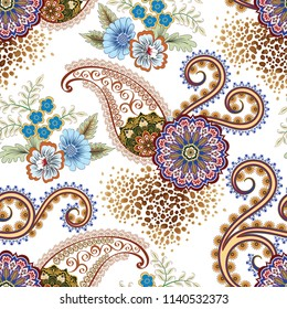 seamless  pattern with ornate paisley,  circle ornament, decorative brown curls,  bouquet blue flowers and fragments leoparg skin