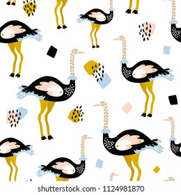 Seamless pattern with ostrich and hand drawn shapes. Creative texture for fabric, wrapping, textile, wallpaper, apparel. Vector illustration