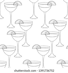 Seamless pattern of Outline glass. Hand drawn vector illustration isolated on white background