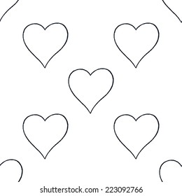 Seamless pattern with outline heart sign with black line contour isolated on white background. Hand drawn graphic design element save in vector illustration 8 eps