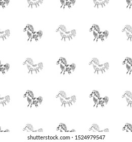 Seamless pattern of outline horse. Doodle seamless pattern of outline horse with floral elements on white background. Child illustration. Floral ornament. Vector design. Vector illustration