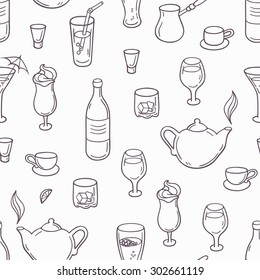 Seamless pattern with outline style drinks in vector. Background with beverages in black and white. Vector illustration