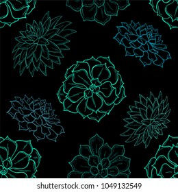 Seamless pattern of outline succulents on black background. Flowers in the desert. Vector illustration. Perfect for printing on fabric, paper for scrapbooking, gift wrap and wallpapers.