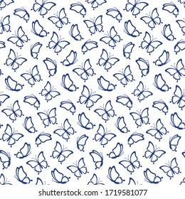 Seamless pattern from the outlines of butterflies on the white background. Butterflies silhouettes are great for creating gift paper, wedding greeting cards and textile