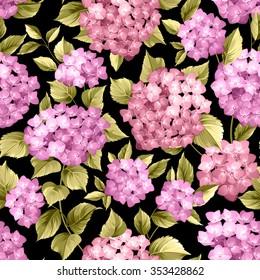 Seamless pattern over black background. Flower pattern of violet hydrangea flowers over black background. Seamless texture. Vector illustration.