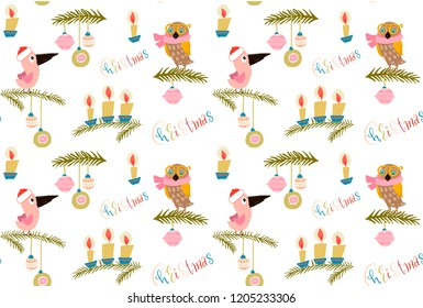 seamless pattern - owl in yellow glasses, pink scarf and a bird in a winter hat red, branches , decorated with Christmas balls. Lettering different colors