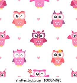 Seamless pattern with owls girls