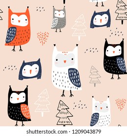 Seamless pattern with owls and trees. Creative woodland childish texture. Great for fabric, textile Vector Illustration
