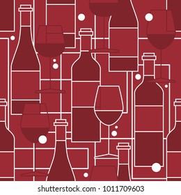 Seamless pattern, pack paper with wine bottles and wine glasses. Flat style, background vector. Overlapping backdrop with winery elements collection. Colorful wallpaper, good for printing