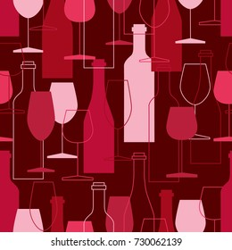 Seamless pattern, pack paper with wine bottles and wine glasses icons. Flat style, background vector. Overlapping backdrop with winery elements collection. Colorful wallpaper, good for printing