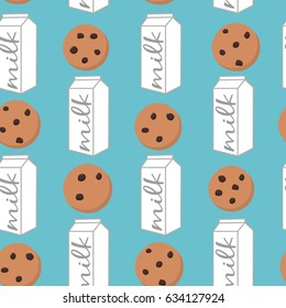 Seamless pattern packing milk and cookies on blue background. Vector illustration