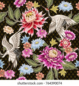 Seamless pattern from painted aster flowers and white cranes. Ja