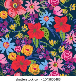 Seamless pattern with painted flowers. A multicolored pattern for wrapping paper, textile, cloth, clothes, socks, backpack, web, bedding.
