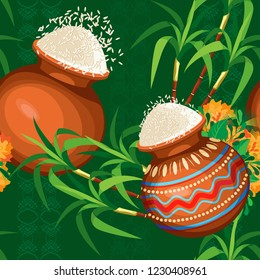 Seamless pattern of painted pots of rice, bouquets of marigolds and cane. Dark green background with green ornament