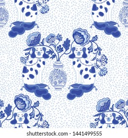 Seamless pattern with Pair of Staffordshire Dogs in Chinoiserie style. Vector illustration. Colorful and beautiful vintage spaniel dogs.