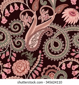 seamless pattern with paisley, festooned with swirls, decorated with rose, foxglove flowers in pink and beige tones - on a dark  burgundy background