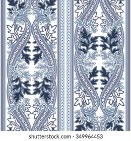 Seamless pattern with paisley. FLoral background with filigree ornament. Vector illustration