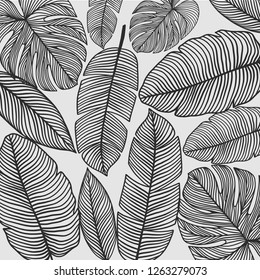 Seamless pattern with palm leaves. Simple pencil drawing. Manual graphics. Stylish vintage illustration. Design wallpaper, fabrics, postal packaging. Illustration