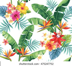Seamless pattern with palm leaves and tropical flowers. Vector illustration.