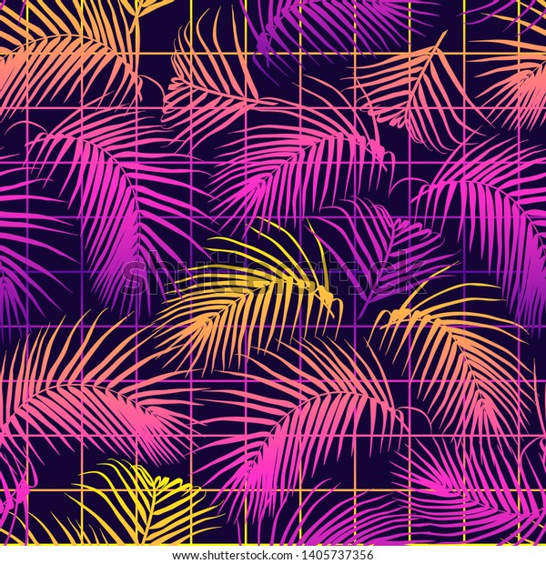 Seamless Pattern Palm Leaves Tropical Design Stock Vector Royalty