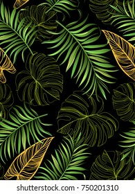 Seamless pattern with palm leaves in vector. Summer illustration.