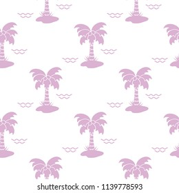 Seamless pattern with palm trees, coconuts and waves. Design for postcard, invitation, banner.