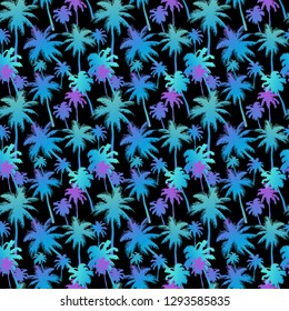 Seamless pattern with palm trees with layered colorful neon palm leaves on black background. Beautiful silhouettes, for swimwear, surfboard, summer clothes