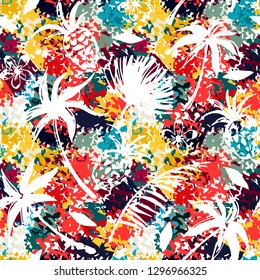 Seamless pattern with palm trees, leaves, pineapples. Grunge print. Abstract background texture, Fabric design, wallpaper