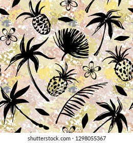Seamless pattern with palm trees, leaves, pineapples on grunge background. Fabric design, wallpaper