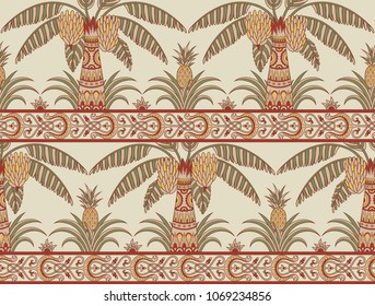 Seamless pattern with palm trees and pineapples in ethnic style. Folk tradition decorative ornament in muted red, green and yellow colors. Vector illustration.