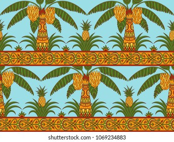 Seamless pattern with palm trees and pineapples in ethnic style. Folk tradition decorative ornament in bright colors on the light blue background. Vector illustration.