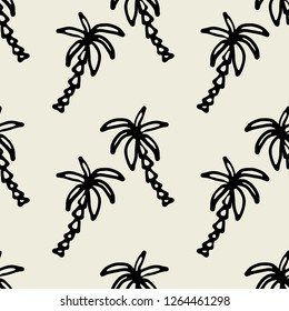 Seamless pattern with palm trees. Summer repeating background. Fabric design