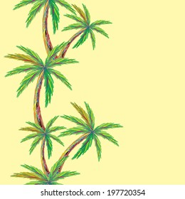 Seamless pattern with palm trees. Tropical nature and plants like palm trees