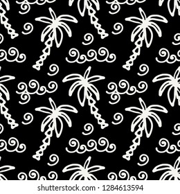 Seamless pattern with palm trees, waves. Summer repeating background